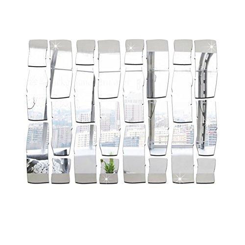 """FOReverweihuajz 3,15""""x 1,18"""" 24 Stück Moderne ziegelform Spiegelwand Aufkleber, DIY-Bad schlafzimmerwand Dekoration-Silber/Golden"""