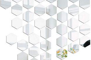 Spiegel-Wandaufkleber Spiegelfliesen Wandspiegel Selbstklebend, 36 Stück Hexagon-Spiegel Silber Wandbild für Zuhause, Wohnzimmer, Schlafzimmer, Sofa, TV, Hintergrund, Wand-Dekoration
